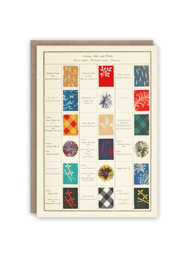 Cotton, Silk and Wool Pattern book card