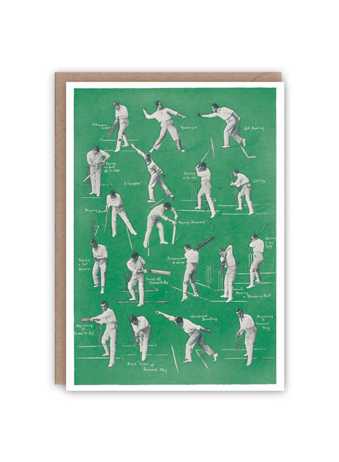 Cricket, Batting und Bowling Pattern Buchkarte