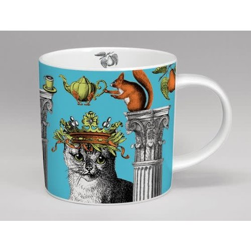 Repeat Repeat Menagerie Cat large  Blue mug bone china