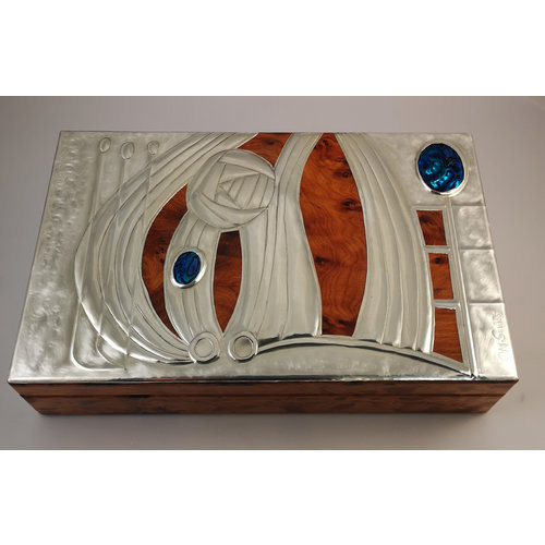 Maria Santos Rose Pewter and wood hinged box 11 sections 025