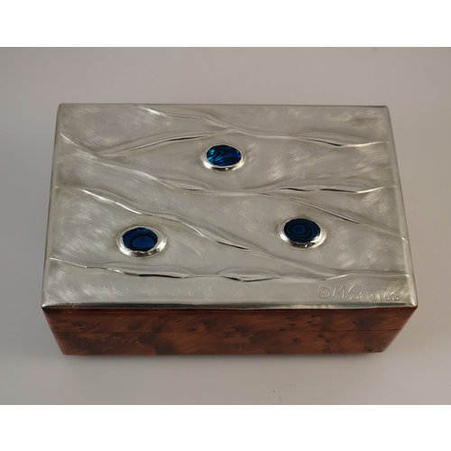 Maria Santos Rippling Water Pewter and wood hinged box 029