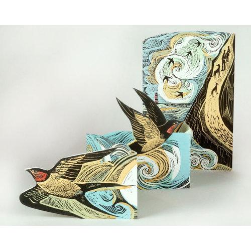 Art Angels Cornish Swallows 3Dcard by Angela Harding