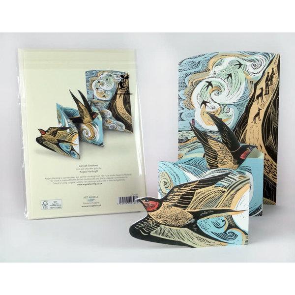 Cornish Swallows 3Dcard by Angela Harding