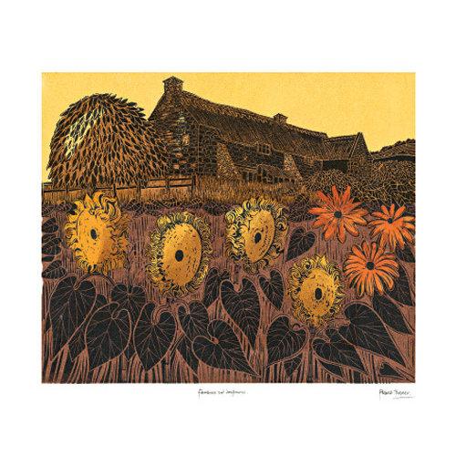 Art Angels Farmhouse and Sunflowers card by Robert Tavener