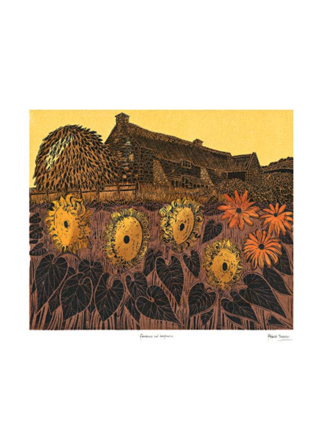 Bauernhaus und Sonnenblumen Karte von Robert Tavener