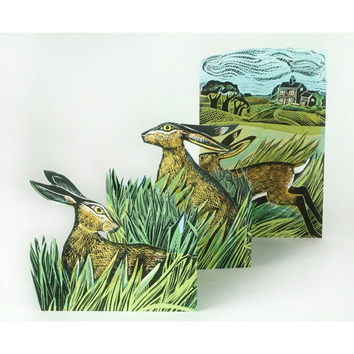 Art Angels Hares and Open Fields 3Dcard by Angela Harding