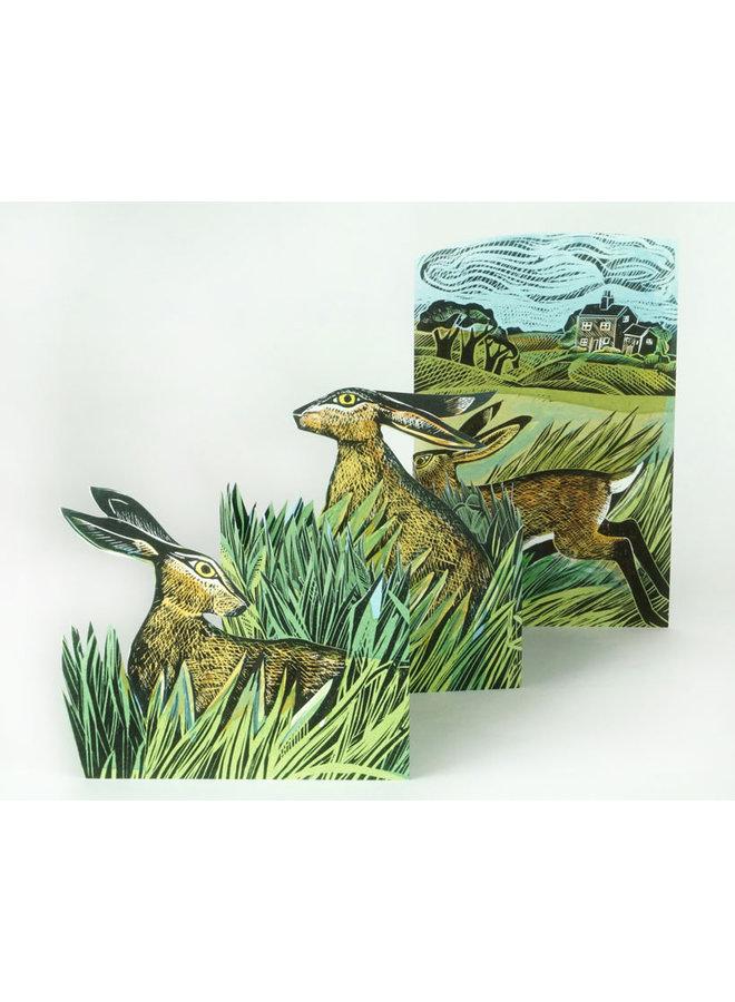 Hasen und offene Felder 3D-Karte von Angela Harding