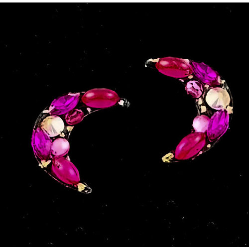 Annie Sherburne Pendientes Crescent Purple Stud 198