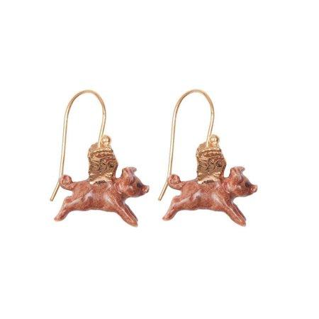 And Mary Flying Pig Blattgold Ohrringe handbemaltes Porzellan