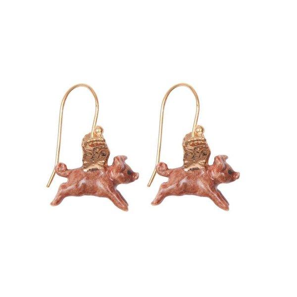Flying Pig bladgoud oorbellen handbeschilderd porselein