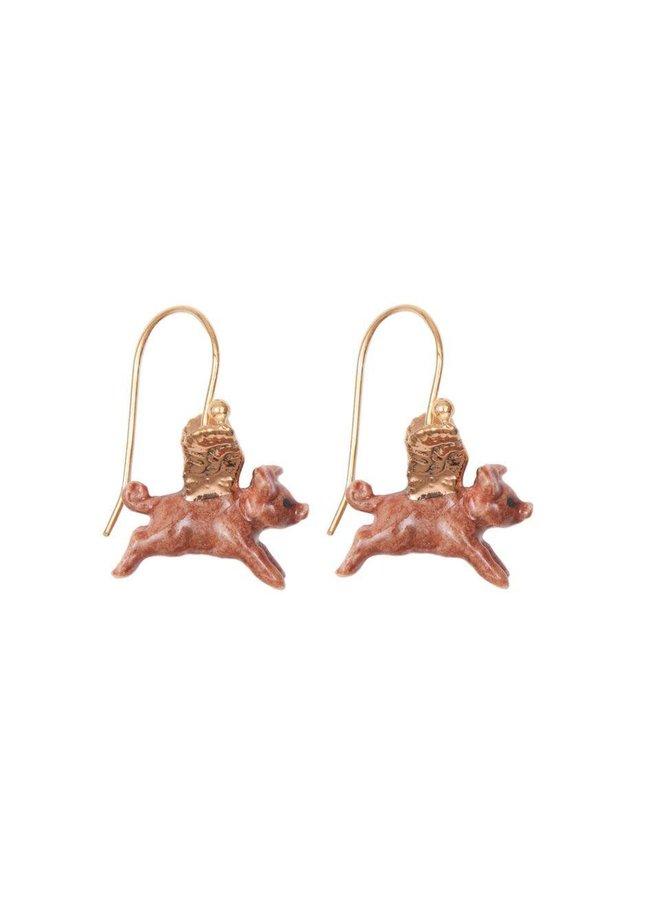 Flying Pig Blattgold Ohrringe handbemaltes Porzellan