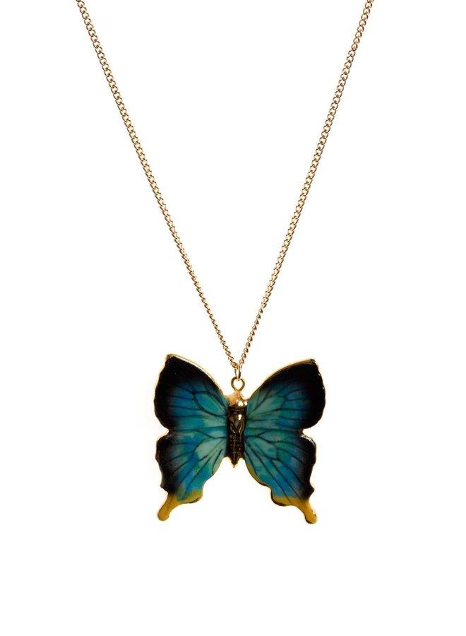 Papillon avec collier en or peint à la main 093