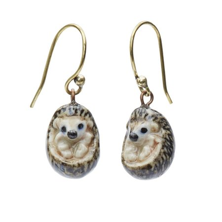 And Mary Hedgehog drop earrings hand painted 088