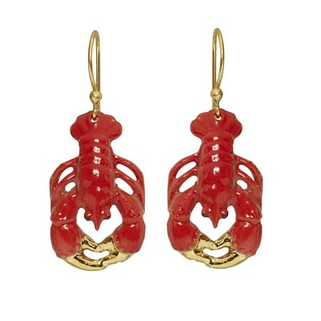 And Mary Lobster drop earrings hand painted 084