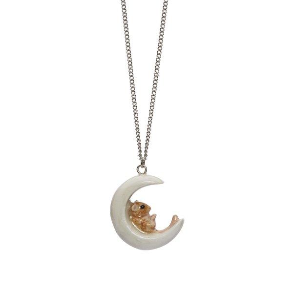 Maus auf Mond Halskette handbemalt 090