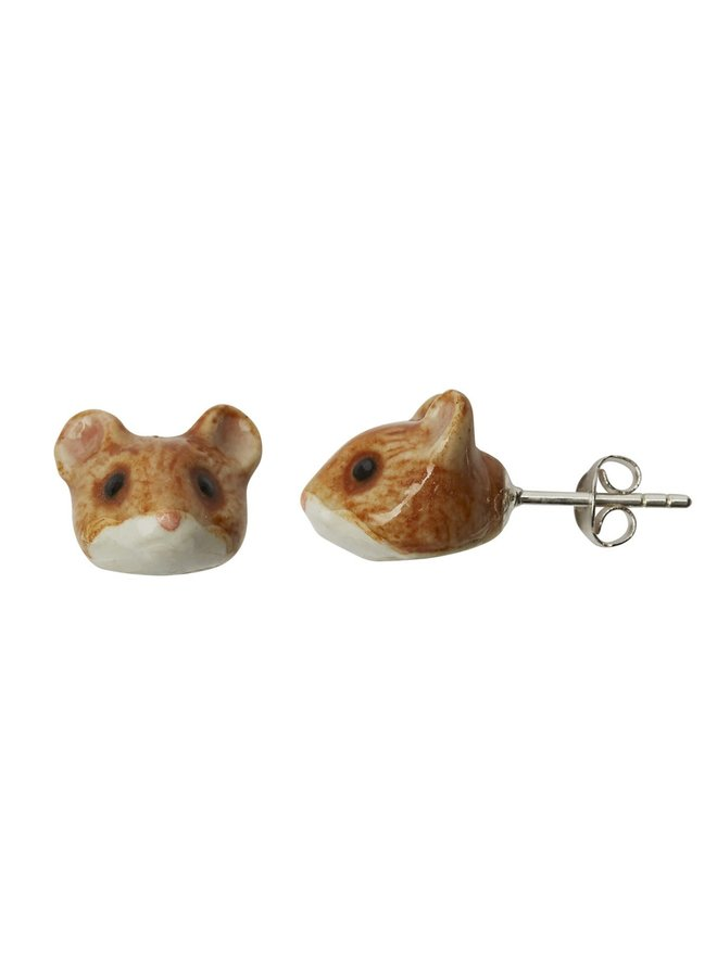 Mouse tiny stud earrings hand painted 085