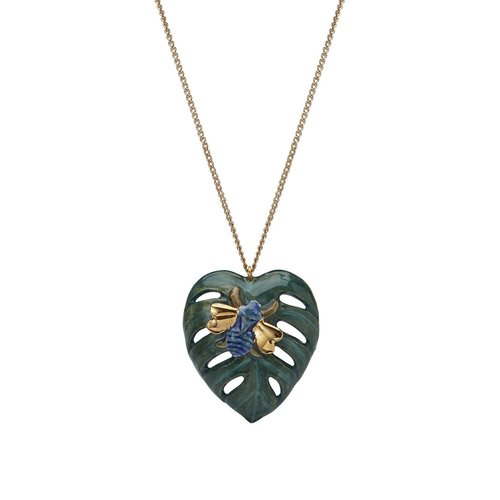 And Mary Palm Leaf with Bug  necklace hand painted 091