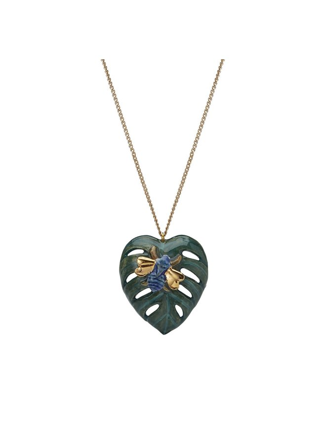 Palm Leaf with Bug  necklace hand painted 091