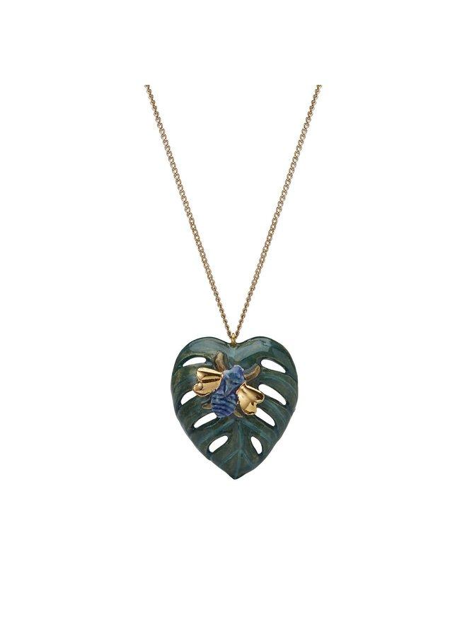 Palmblatt mit Käfer Halskette handbemalt 091