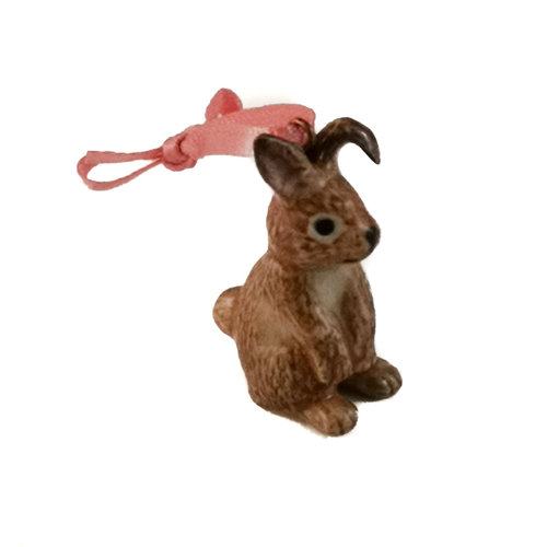 And Mary Brown Bunny Sitting  charm  hand painted 096