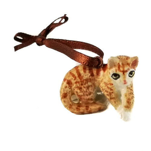 And Mary Ginger Cat  charm  hand painted 099