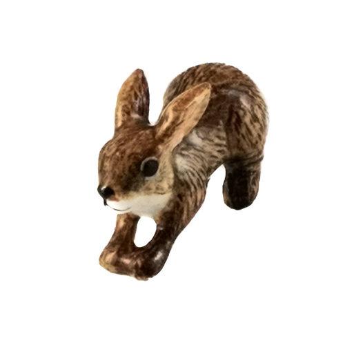 And Mary Springende bruine konijnenbedel met de hand beschilderd 100