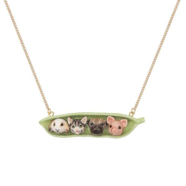 Vier dieren in een Pea Pod ketting handbeschilderd 094