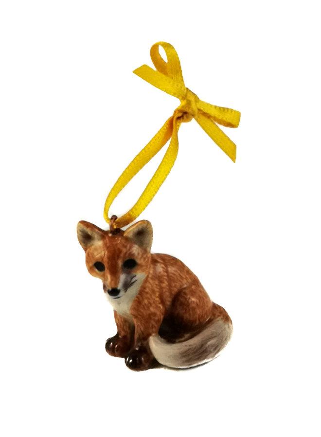 Sitting Fox Charm handbemalt 098