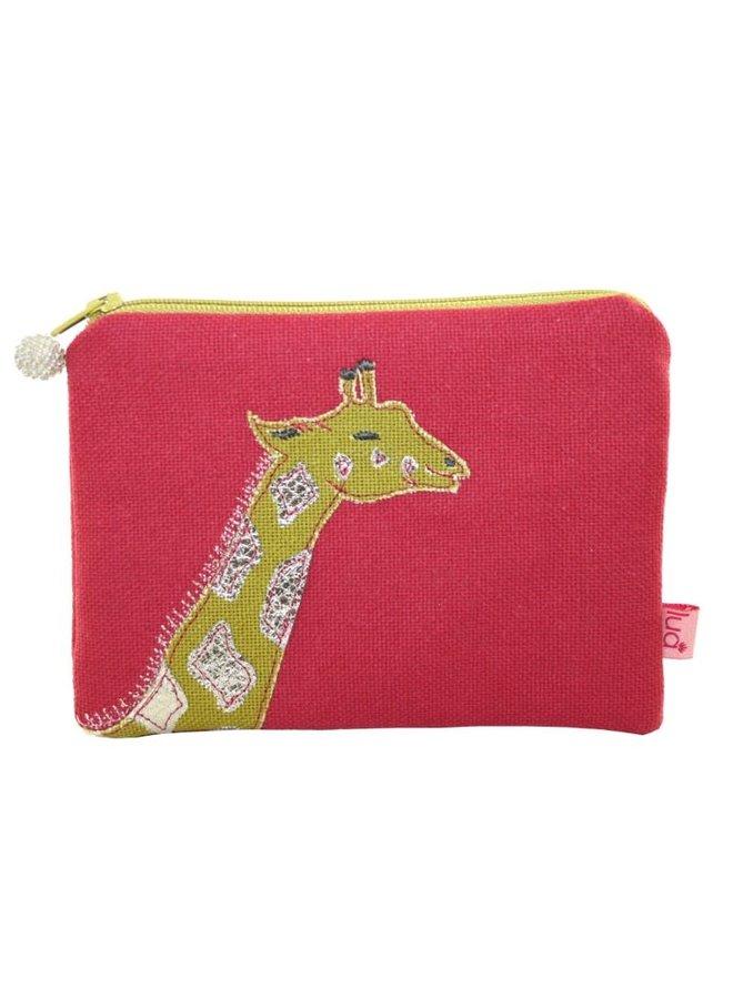 Giraffe gestickte Geldbörse Himbeere 433