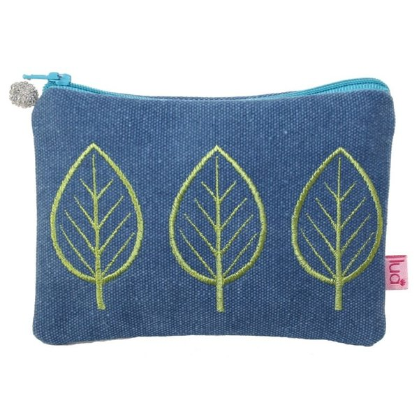 Three Leaf Embroidered coin purse Petrol 439