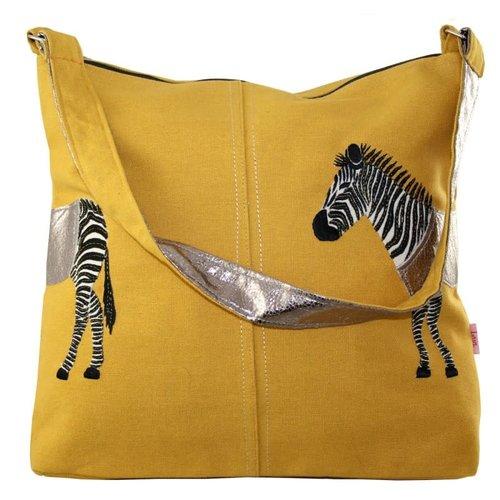LUA Zebra Applique große Umhängetasche Ocker 411