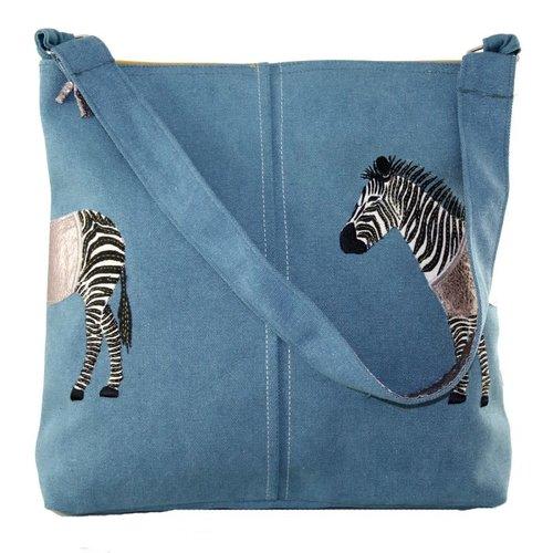 LUA Zebra Applique large shoulder bag Petrol 410