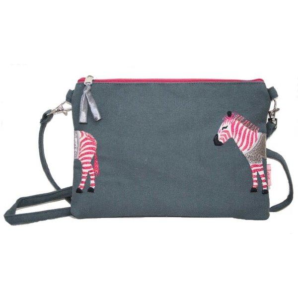 Zebra Applique Mini-tas met riem grijs / roze 399