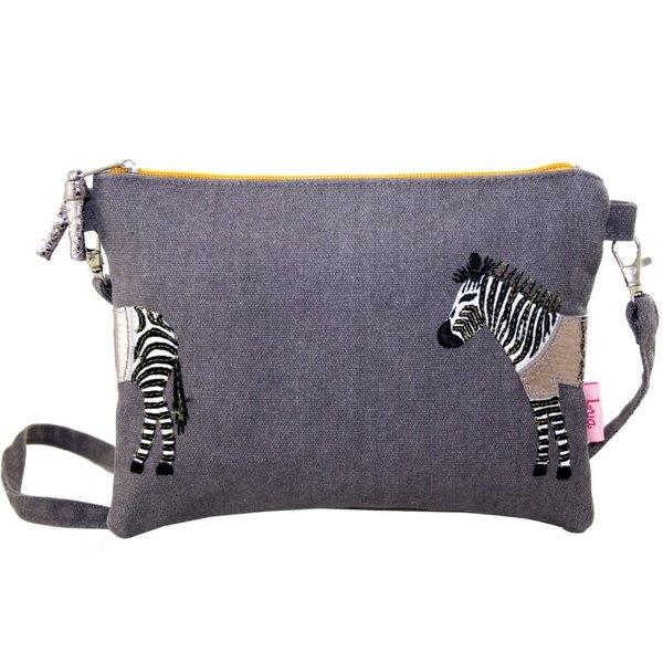 Zebra Applique Mini tas met riem grijs / wit 400