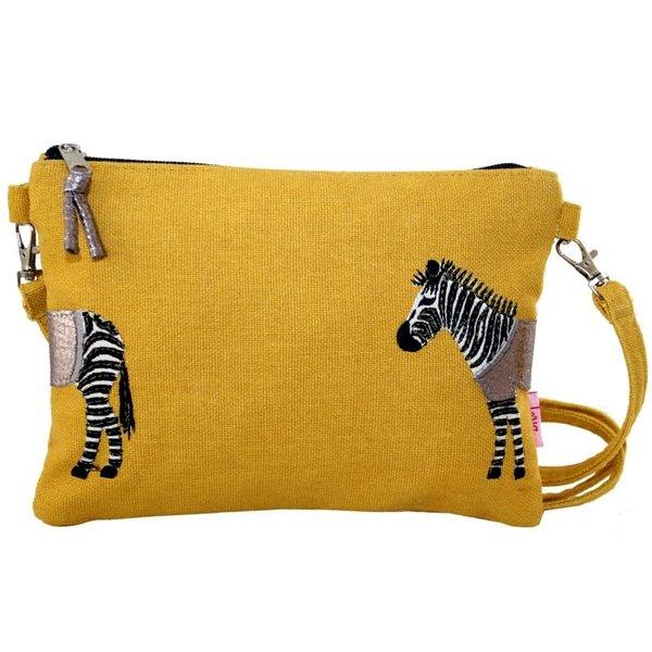 Zebra Applique Mini-tas met riem mosterd 401