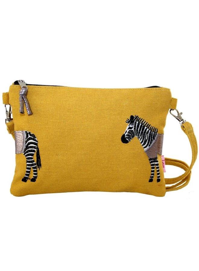 Zebra Applique Mini Tasche mit Riemen Senf 401