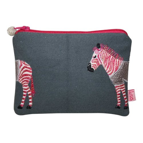LUA Zebra appliqued coin purse Grey and Pink 436