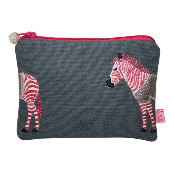 Zebra appliqued coin purse Grey and Pink 436