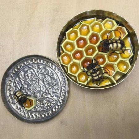 Leigh Shepherd Designs Secret Hive in Brass Trinket-pot No75 / 67
