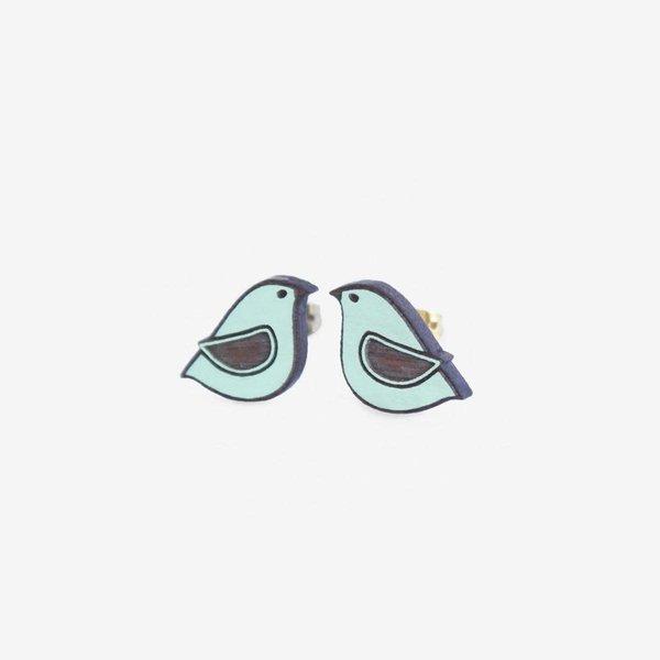 Blauwe duif oorbellen 024