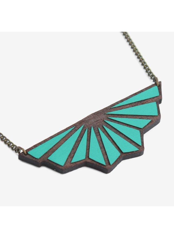 Teal Toile de Fond Art-Deco-Halskette 033
