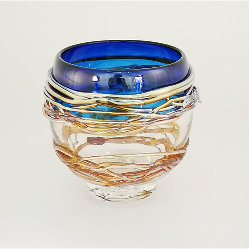 Allister Malcolm Glass Blue and Gold Trailing Bowl 27