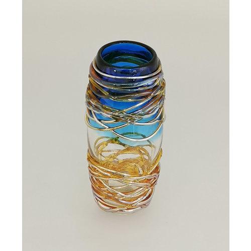 Allister Malcolm Glass Golden Trailing Vase Blue 24