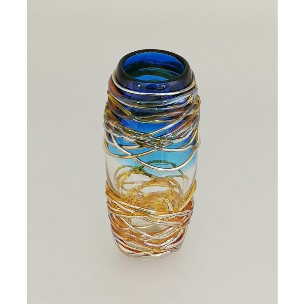 Gouden hangvaas blauw 24