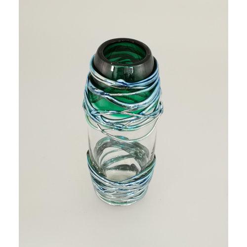 Allister Malcolm Glass Vase Trailing Doré Vert 22