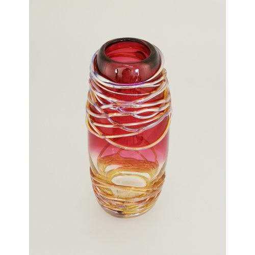 Allister Malcolm Glass Golden Trailing Vase Rose 23