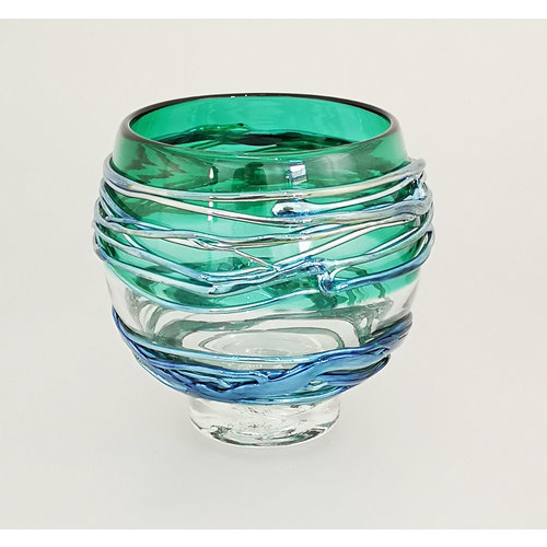 Allister Malcolm Glass Green and Platinum Trailing Bowl 28