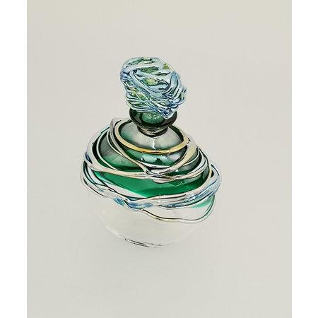 Allister Malcolm Glass Groene en platina hangende geurfles 29