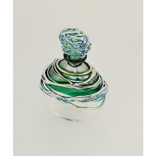 Allister Malcolm Glass Flacon de parfum de fuite vert et platine 29