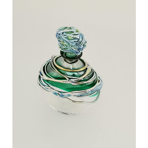Allister Malcolm Glass Green and Platinum Trailing Scent Bottle 29